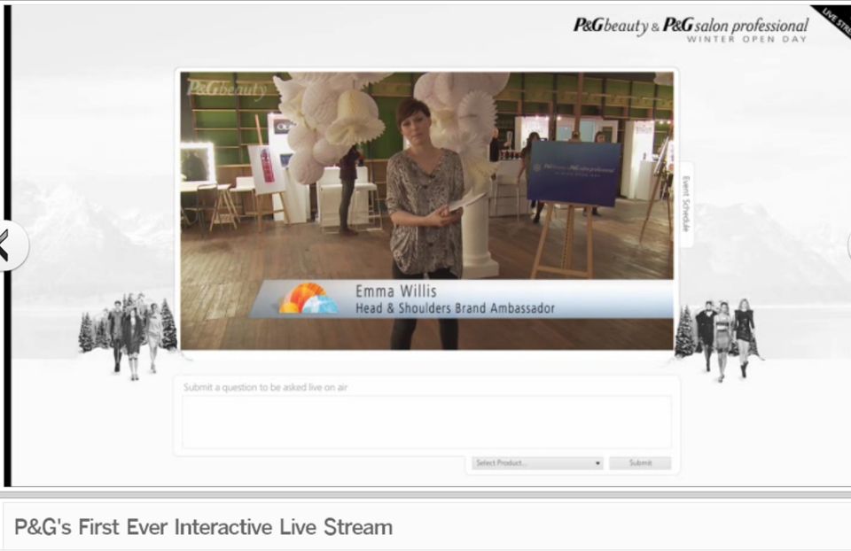 Interactive livestreaming, with a text box for viewers to pose questions to be asked live on air.http://www.paperheads.co.uk/projects/p-g-s-first-ever-interactive-live-stream.go