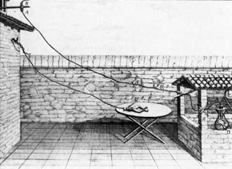 Galvani's setup to study 'animal electricity' from the late 1700s