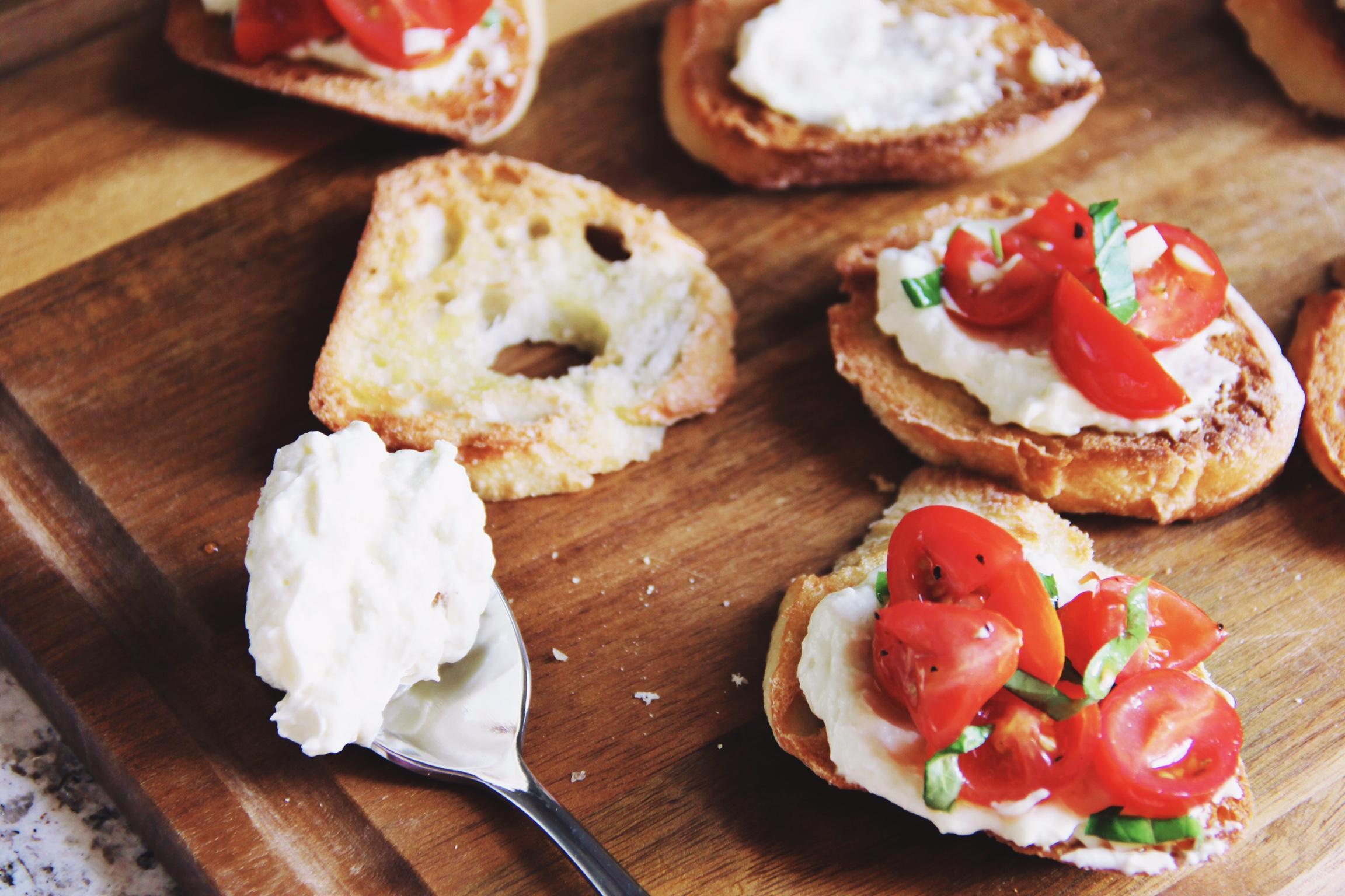 Cherry tomato and creamed feta crostini