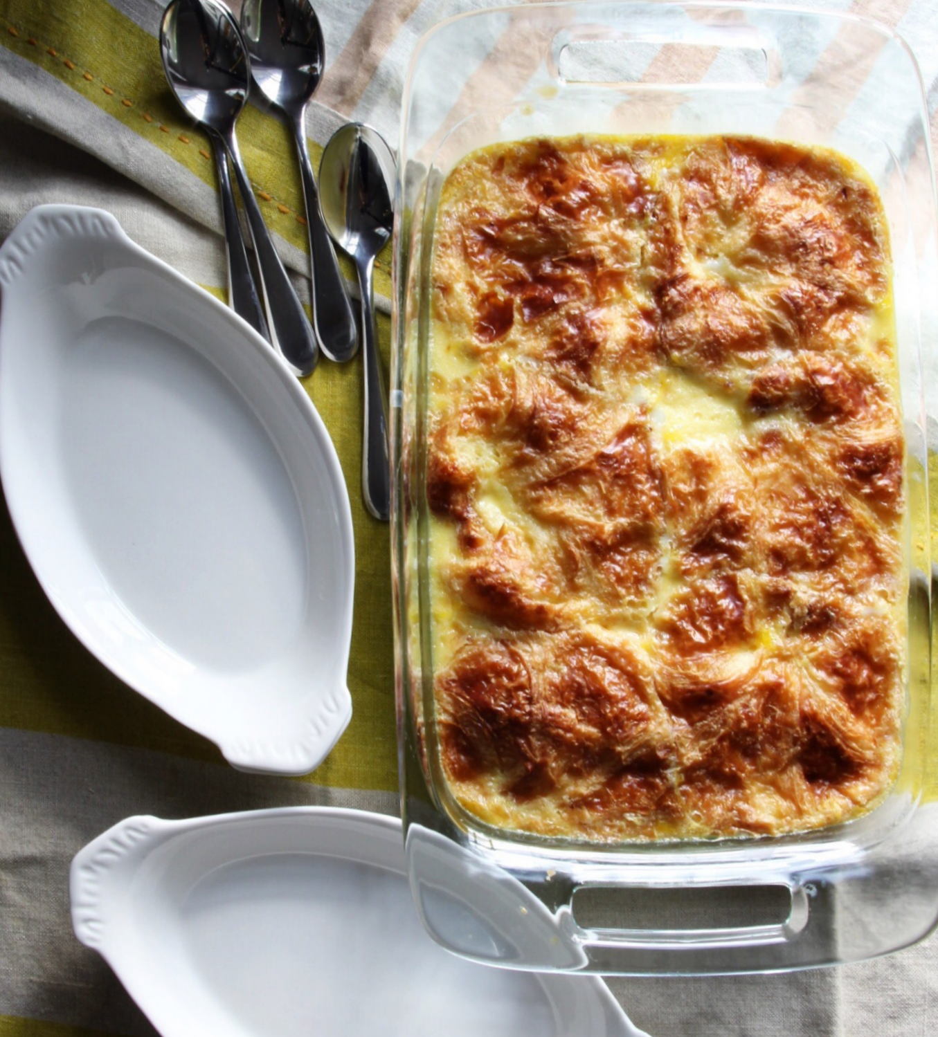 Croissant bread pudding with old fashioned lemon sauce - The Pastiche
