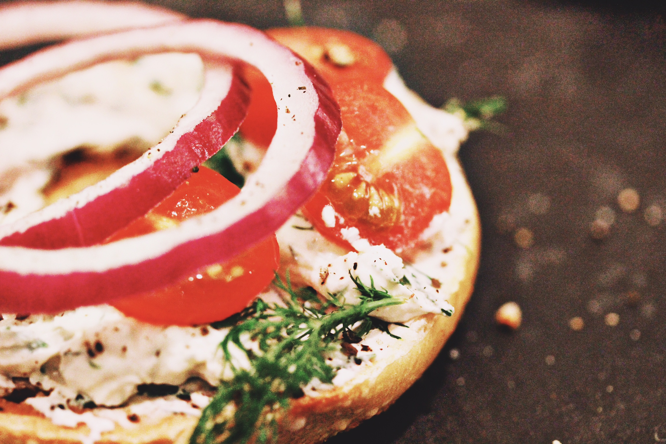 Bagel breakfast with herbed cream cheese - The Pastiche