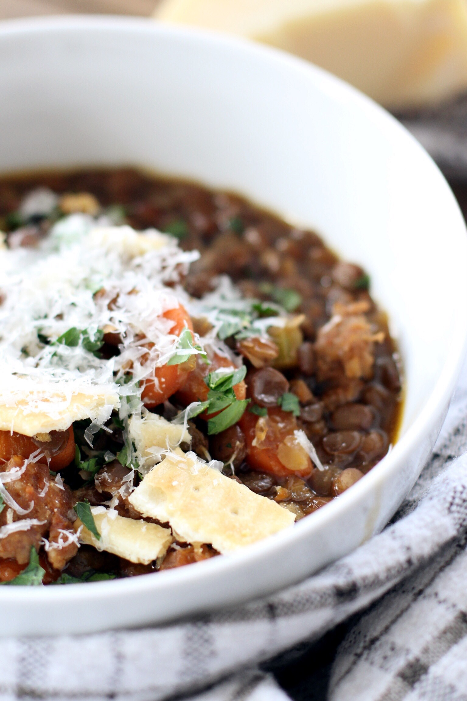Spicy lentil soup with Italian sausage - The Pastiche