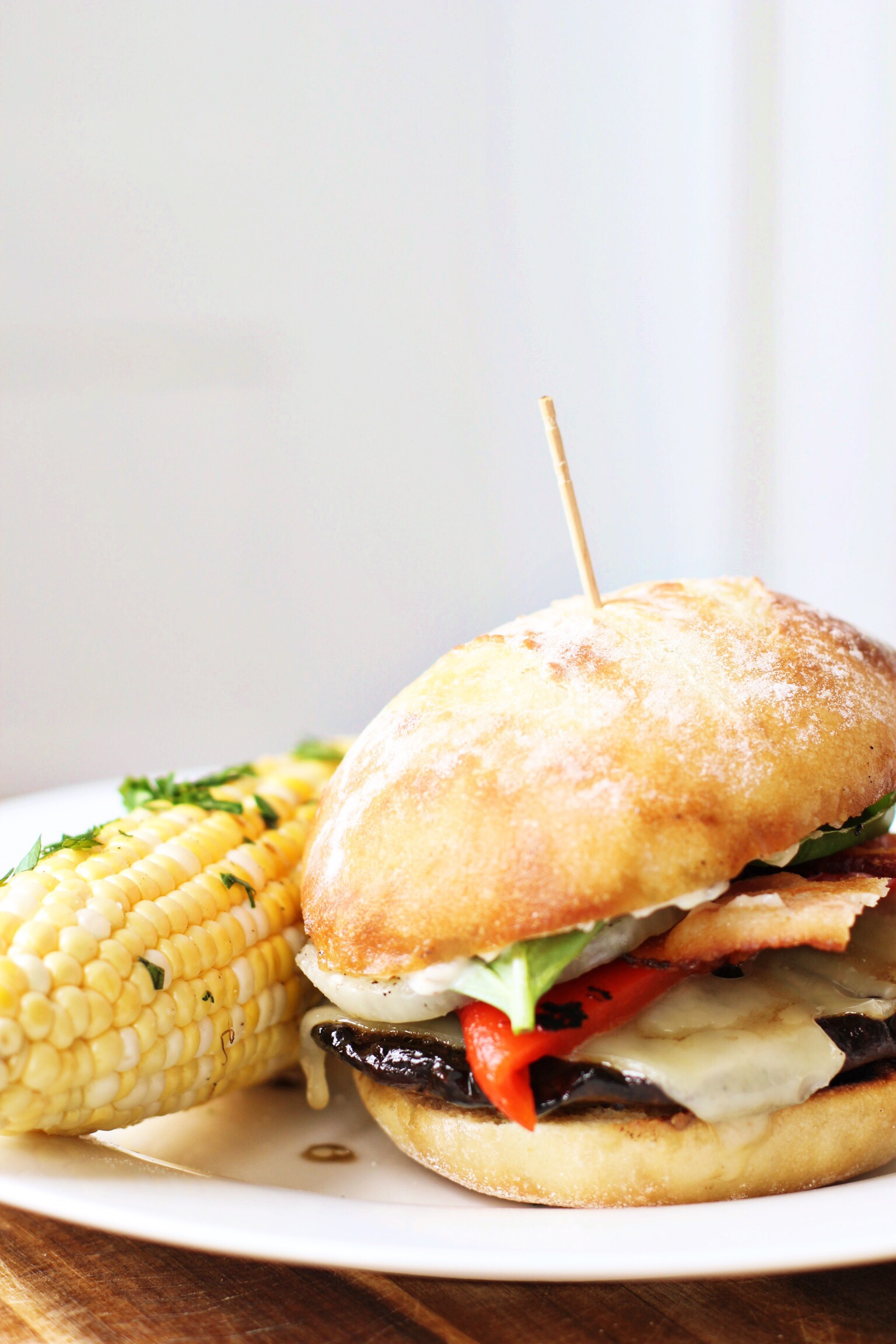 Grilled portobello with bacon, Swiss, roasted red pepper, and garlic mayo - The Pastiche