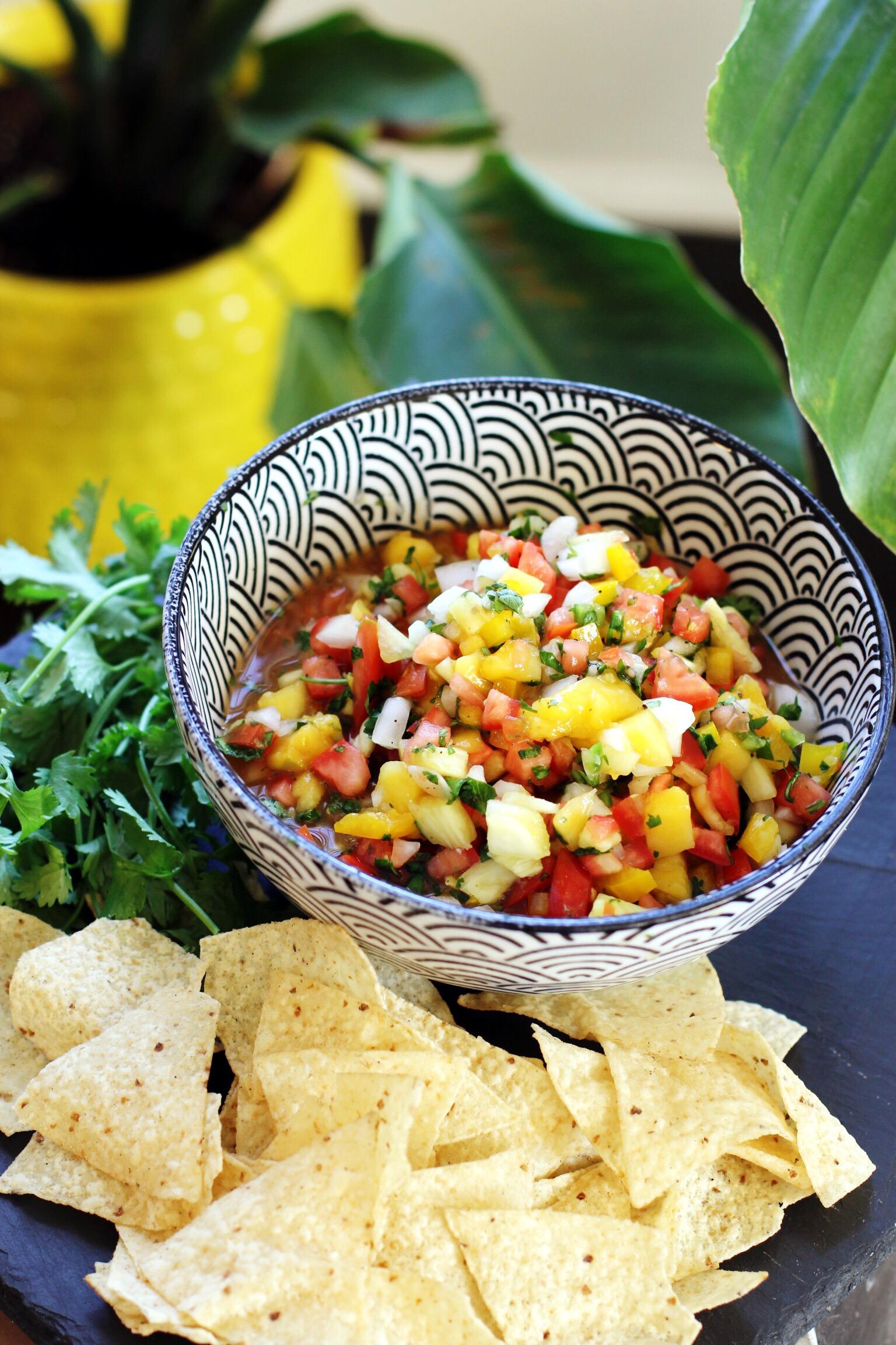Mango pineapple salsa with serrano pepper - The Pastiche