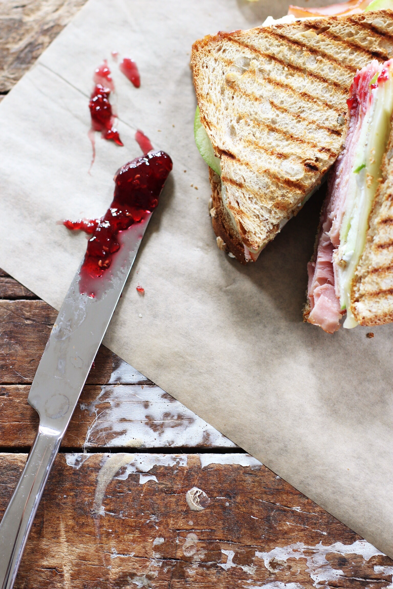 Thanksgiving ham sandwich with apple, goat cheese, and raspberry jam - The Pastiche