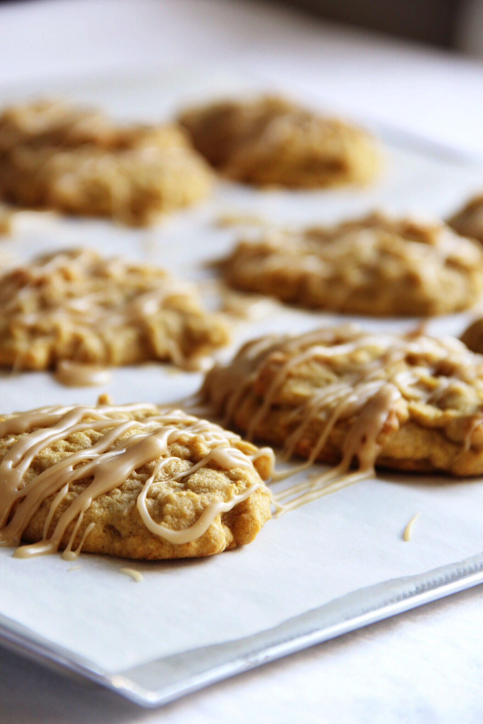 Pumpkin cookies with caramel brown butter frosting - The Pastiche