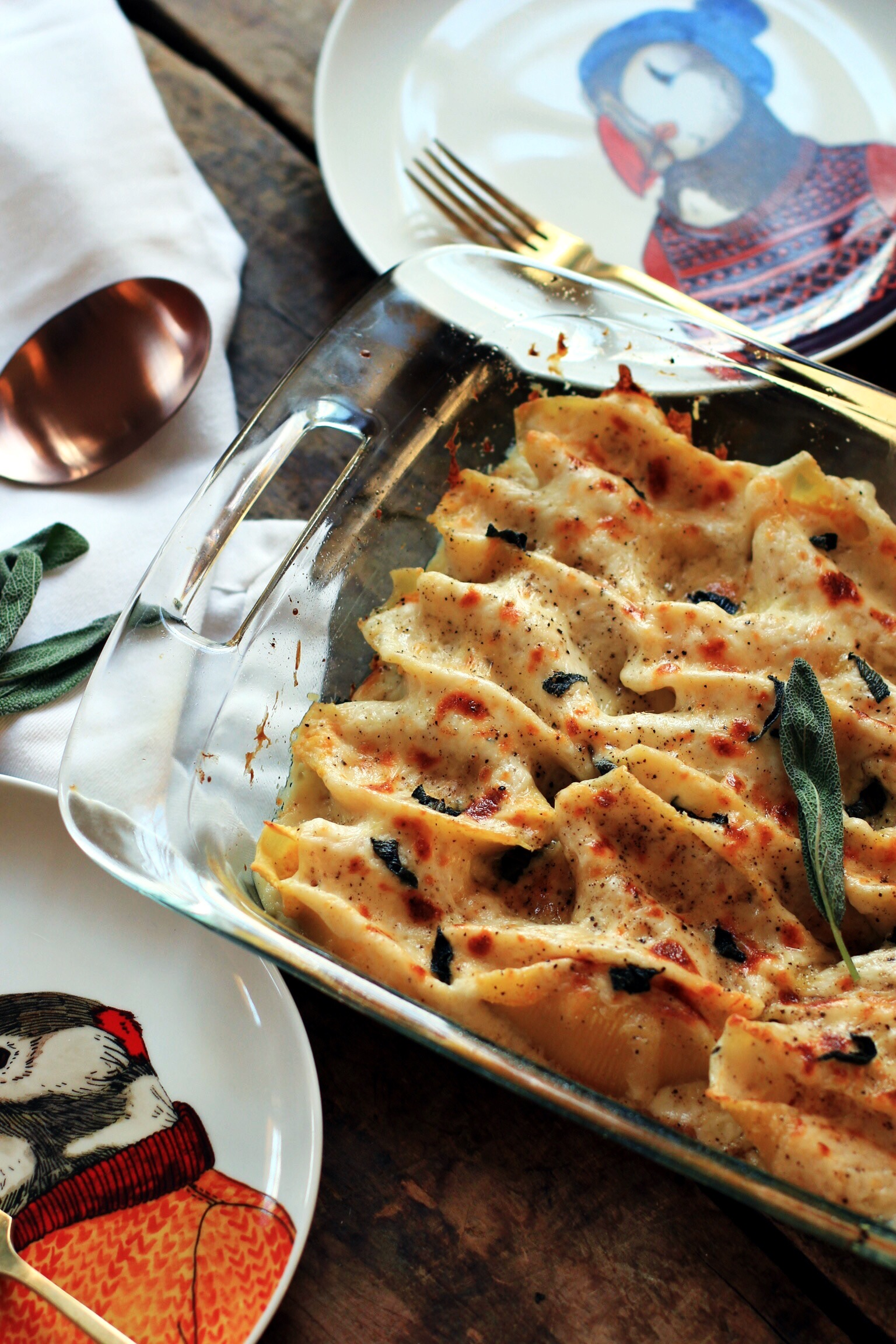 Butternut squash and ricotta stuffed shells with garlic bechamel - The Pastiche