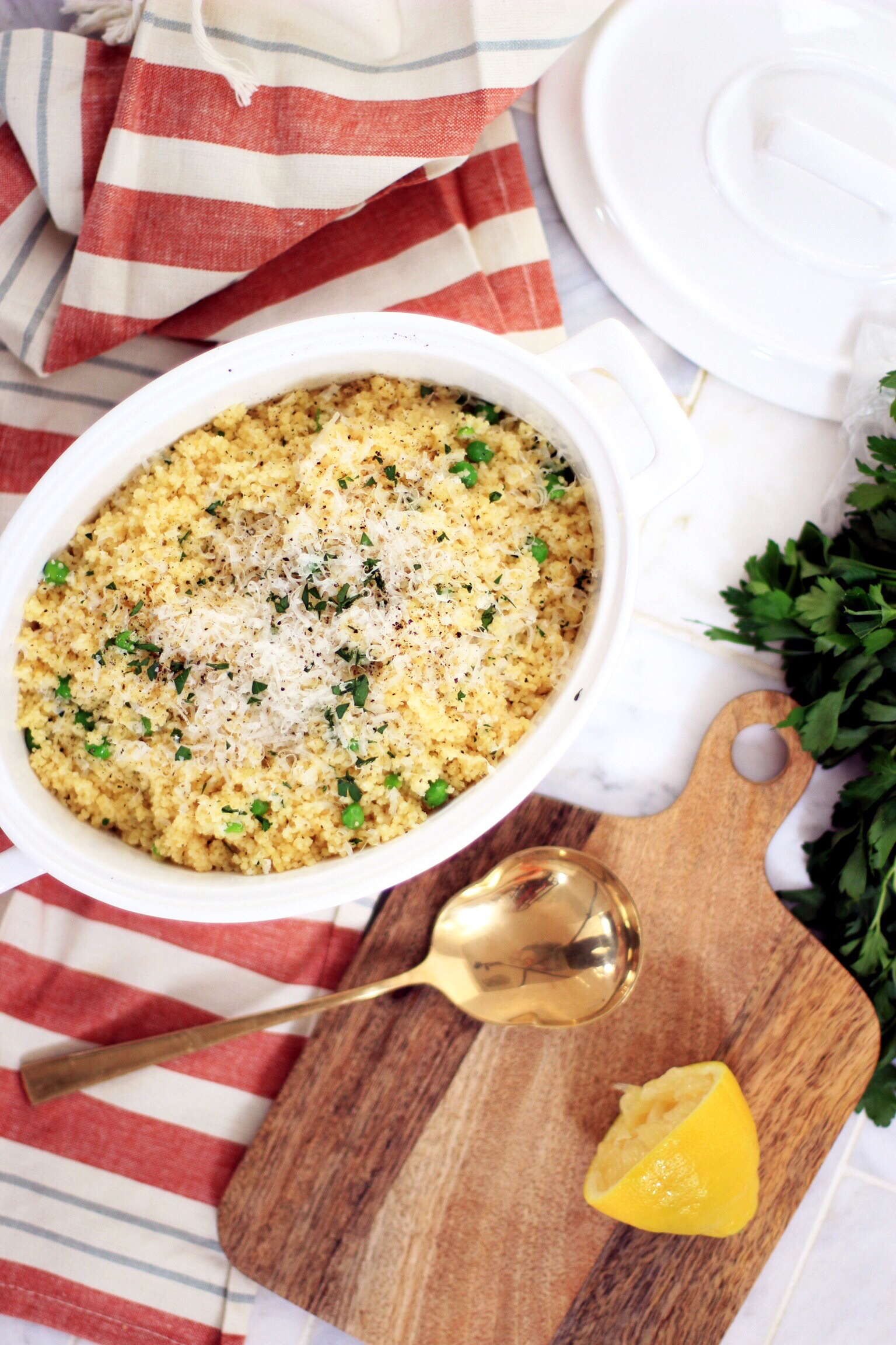 Warm lemon and Parmesan couscous