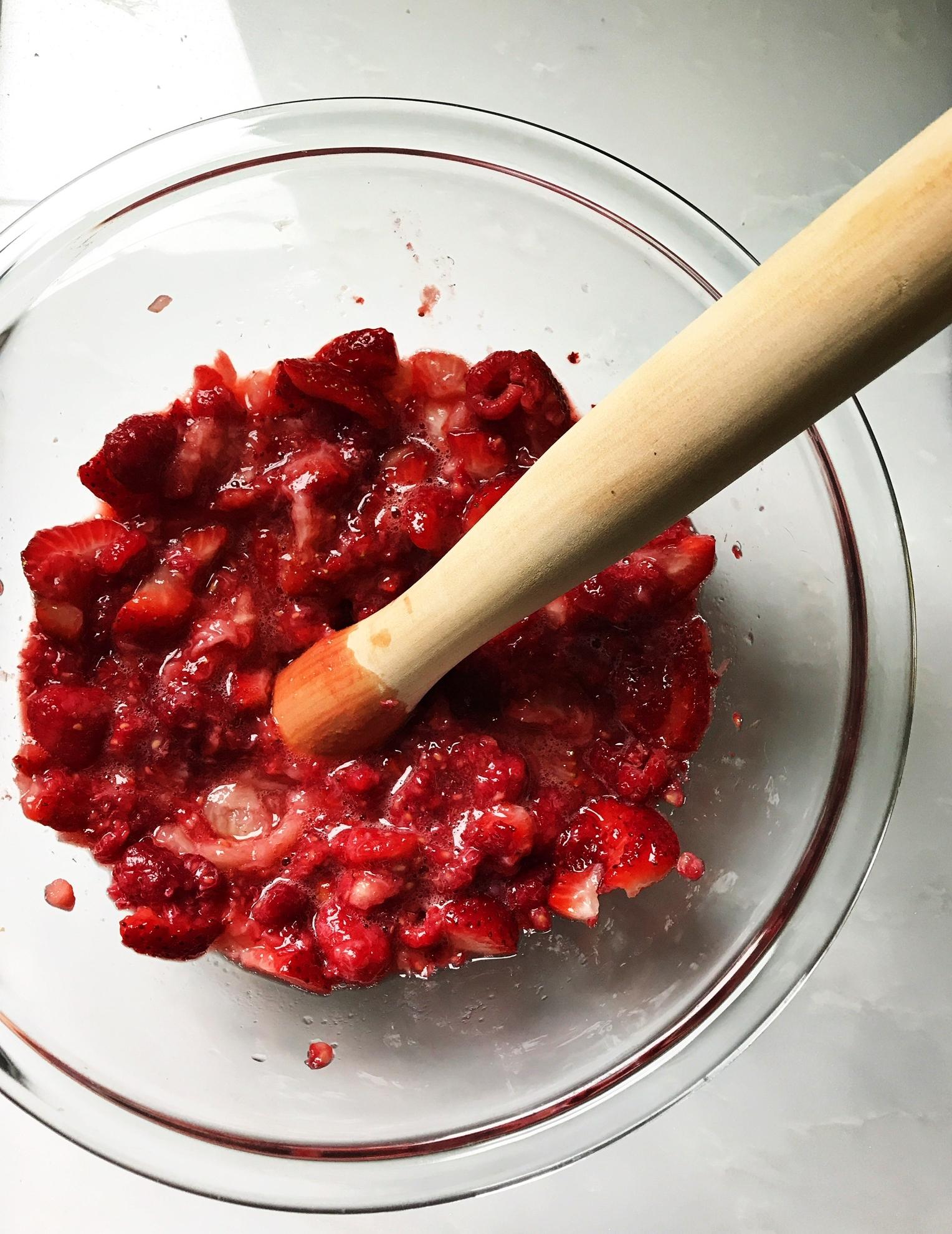 Strawberry-raspberry Sriracha jam