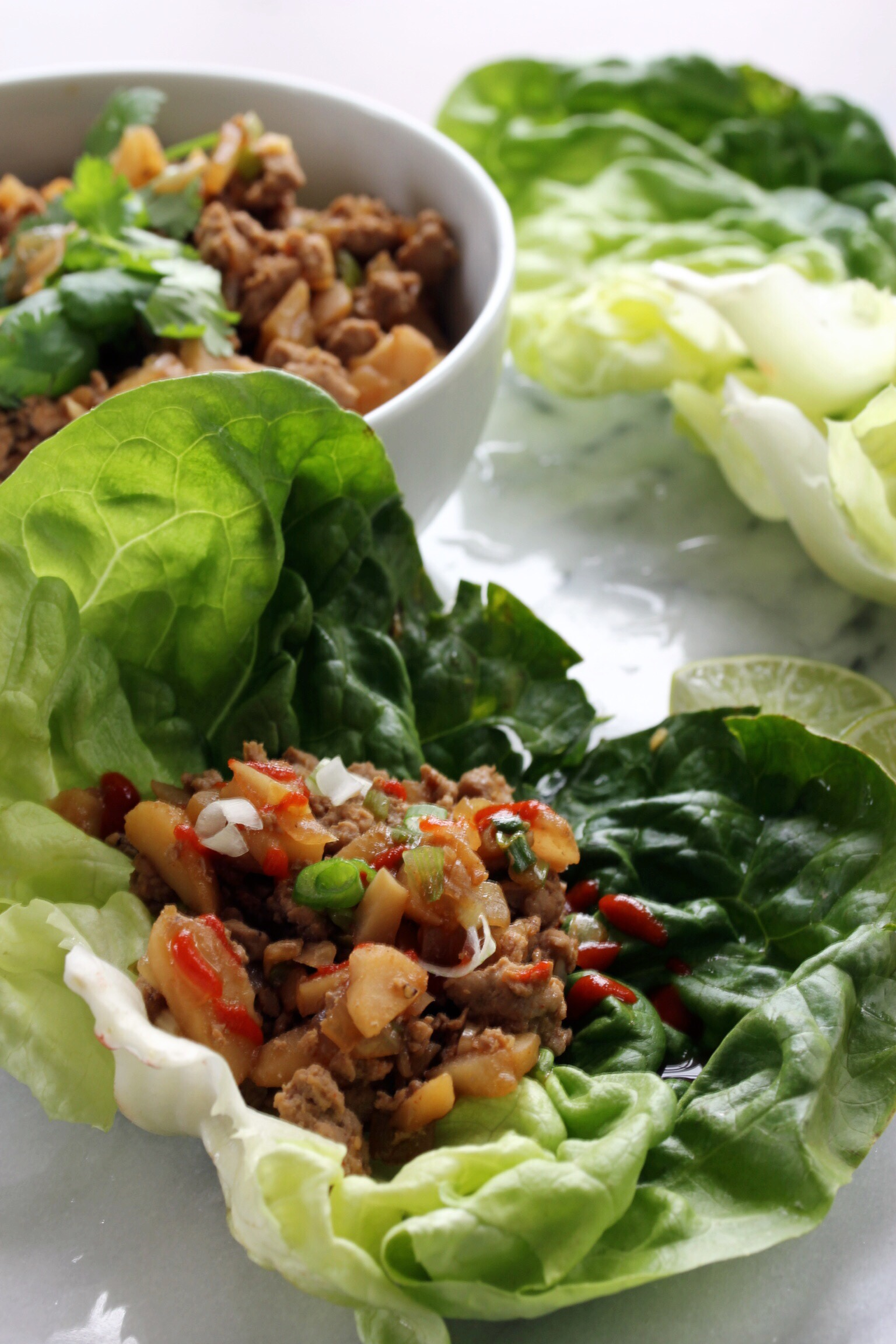 Chinese lettuce wraps with ground turkey