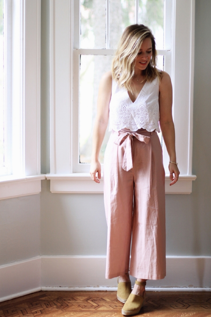 Blush culottes and cropped eyelet