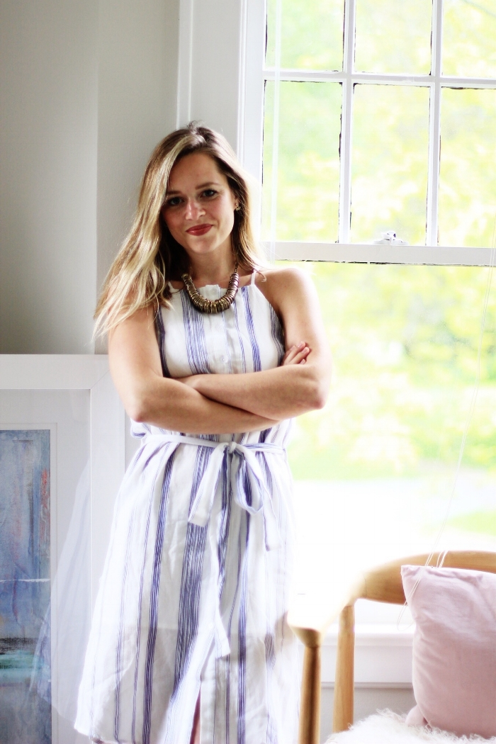 White and blue striped cotton sheath dress - The Pastiche