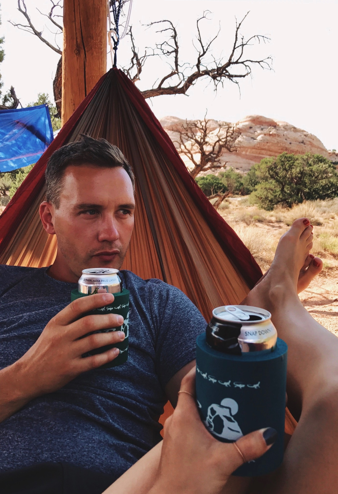 Doing our best to cool off (a la hammock and IPAs) in Canyonlands