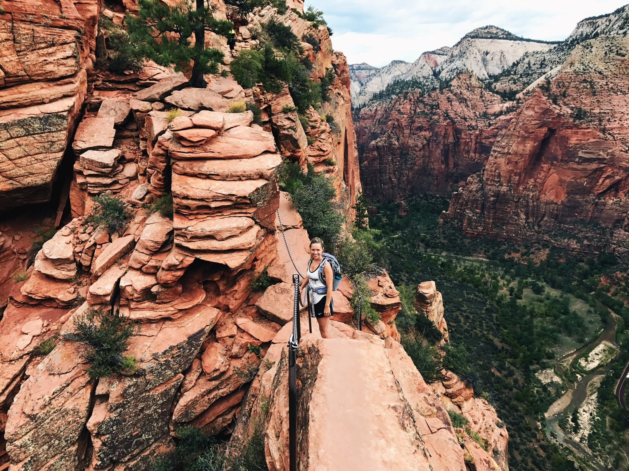 Smiling, only because I'm on my way back down from Angels Landing