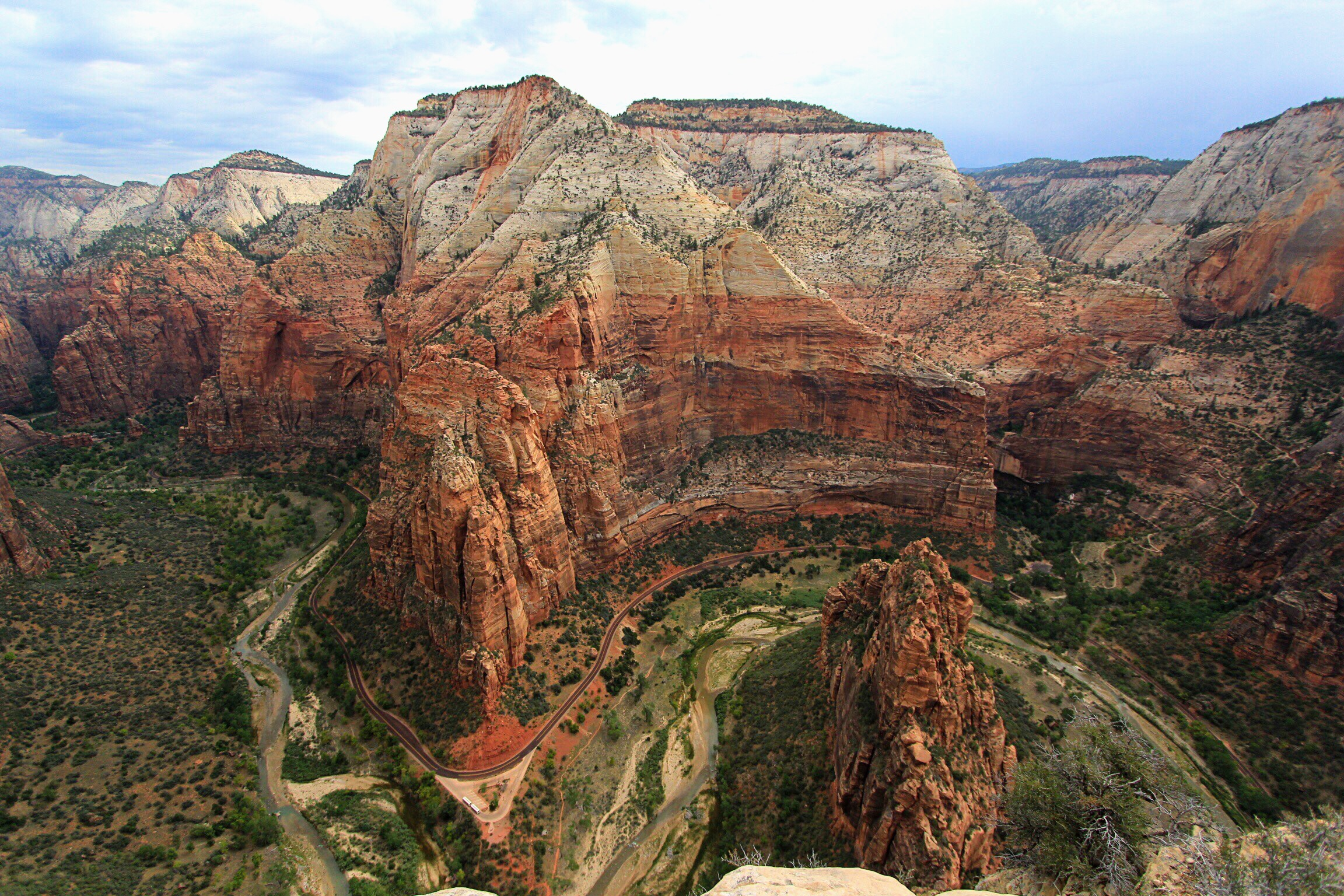 From the tip of Angels Landing, looking over the side