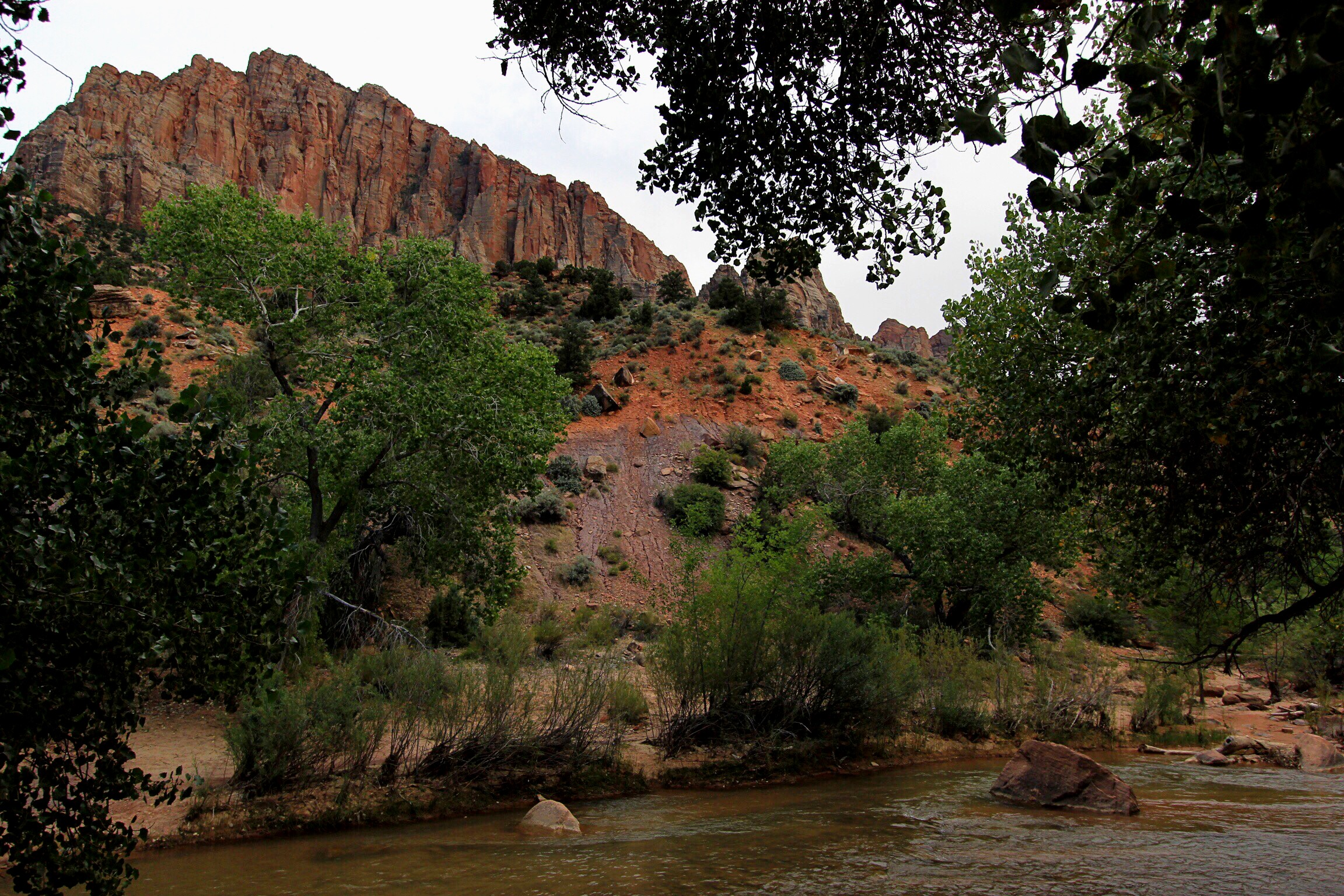 View from our campsite outside the park at Zion Canyon Campground