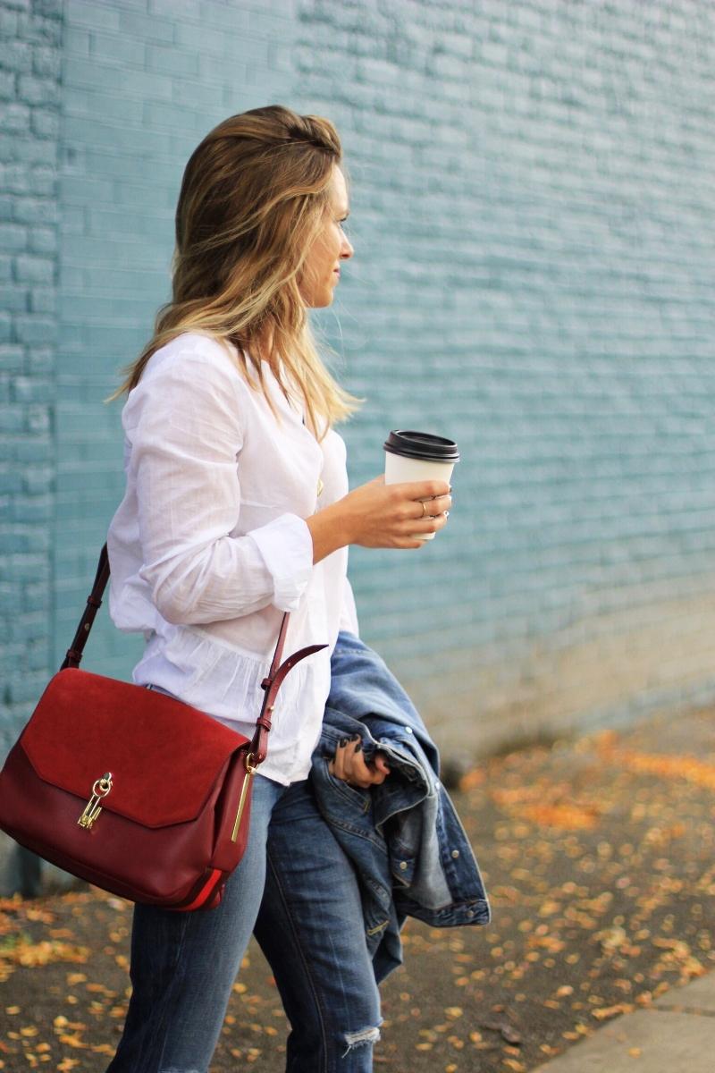 Crimson bag for fall