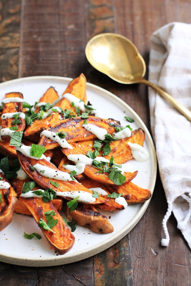 Roasted sweet potatoes with jalapeno lime yogurt