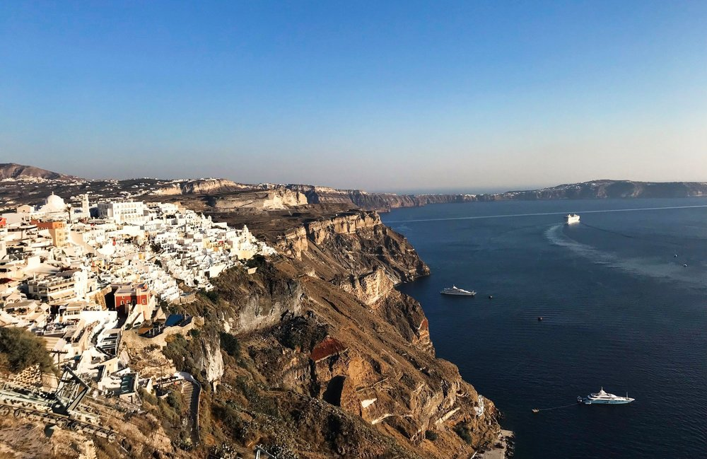 Bird's eye views in Fira, towards the center of the island. You can really see the crescent shape here!