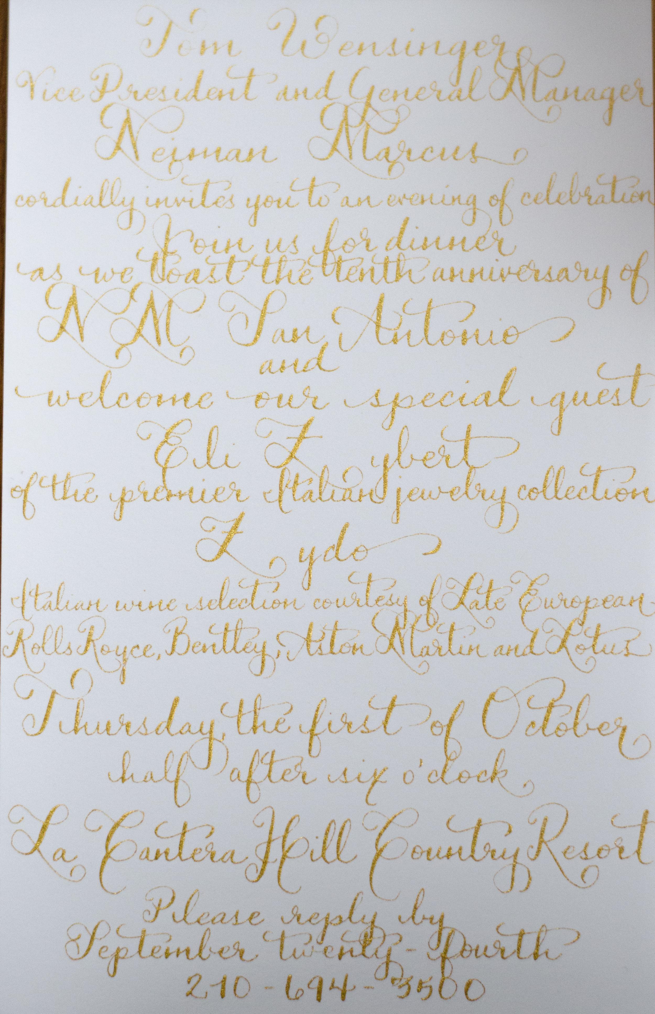calligraphy custom calligraphy invitation hand lettered san antonio south texas
