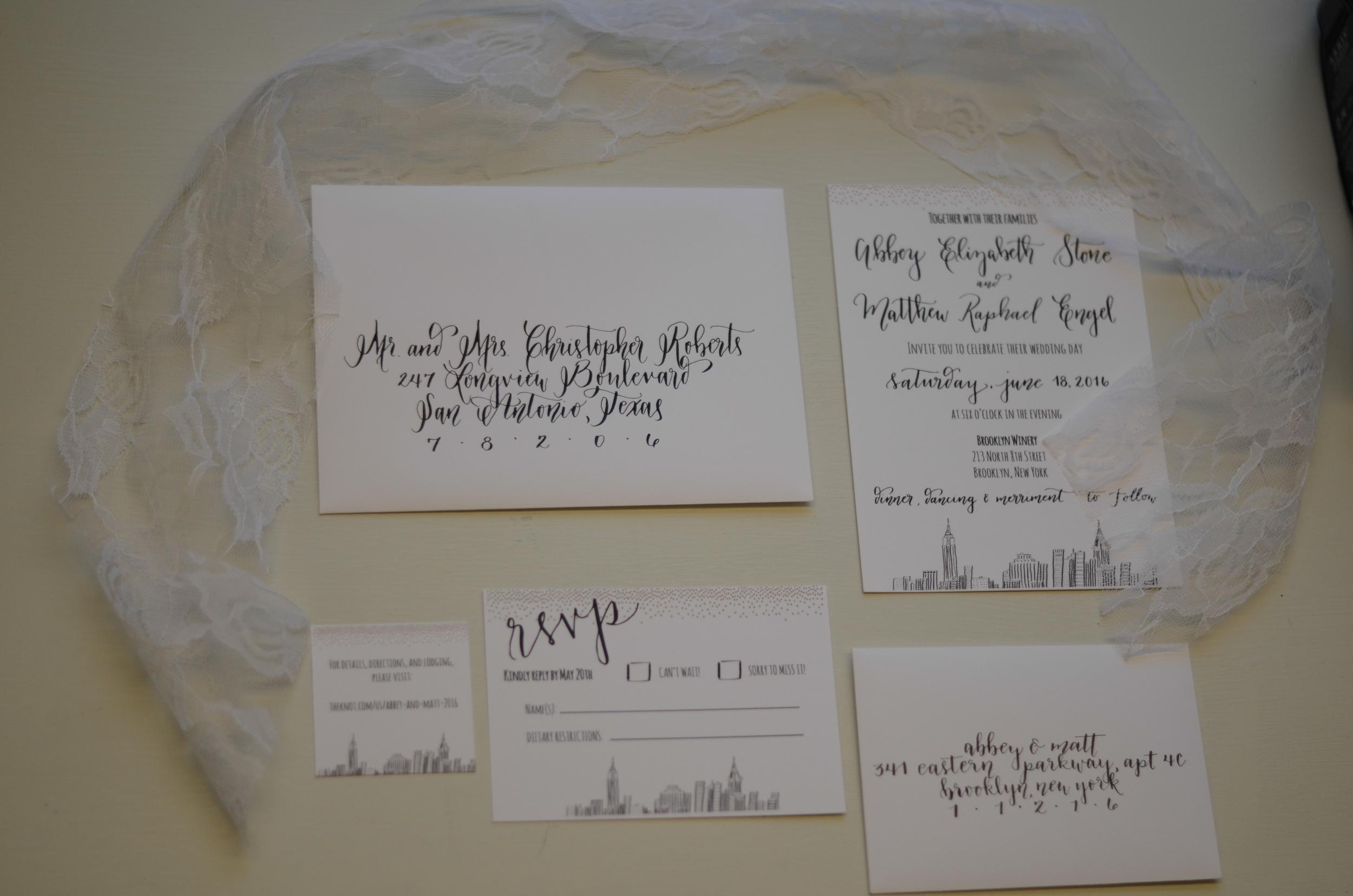 calligraphy modern calligraphy calligrapher invitation suite custom artwork drawing bride wedding san antonio south texas