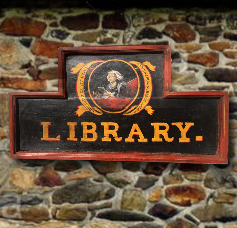 Newtown Library  Sign (Authentic Reproduction); Private client. The original sign was painted by esteemed American artist Edward Hicks.
