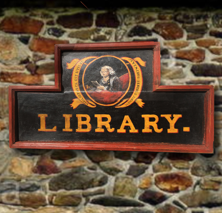 Authentic Reproduction - Newtown Library Sign (Bucks County, PA) - ver2