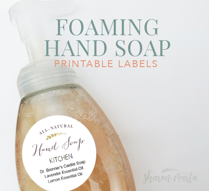 Easy, homemade diy foaming hand soap printable labels