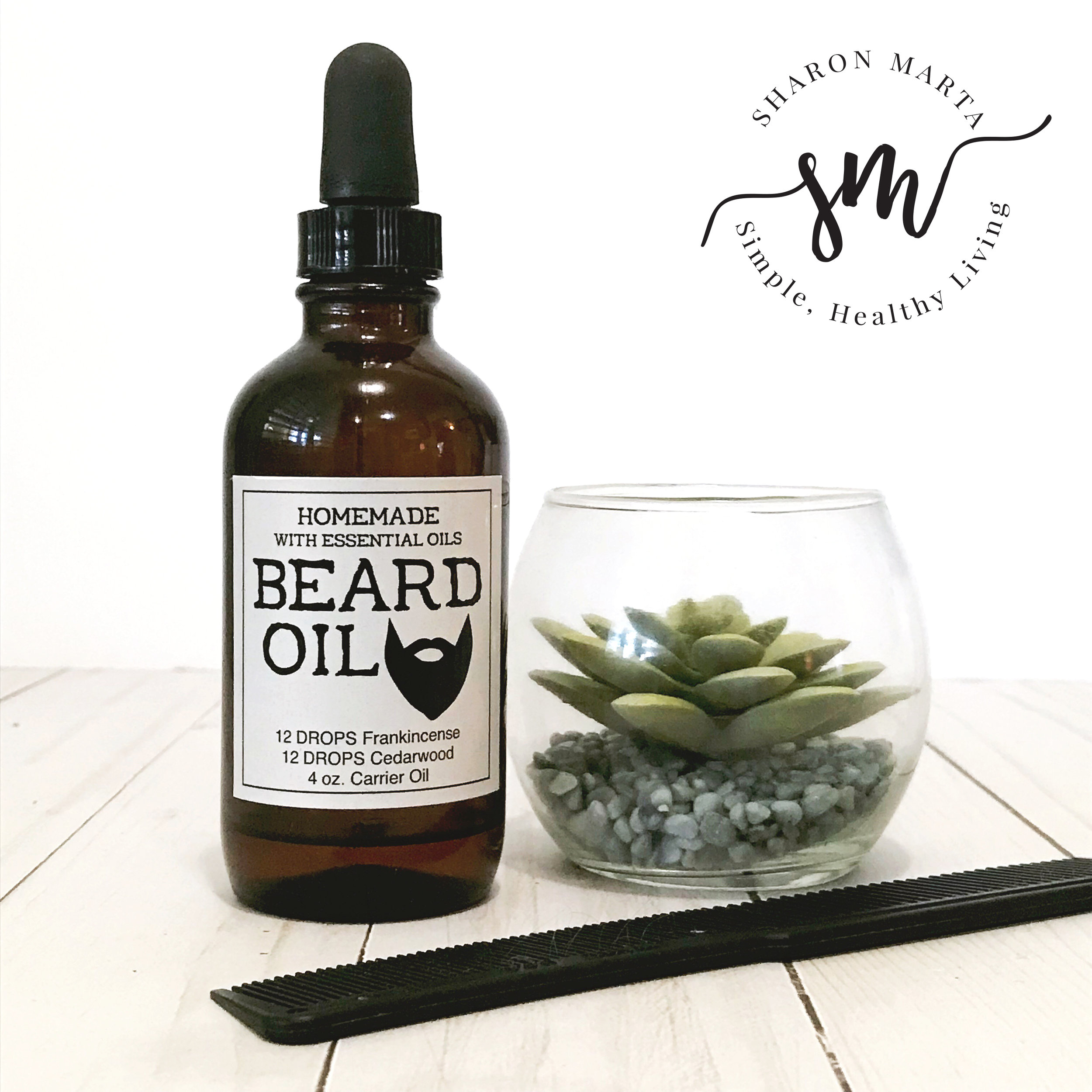 Beard Oil Label with essential oils