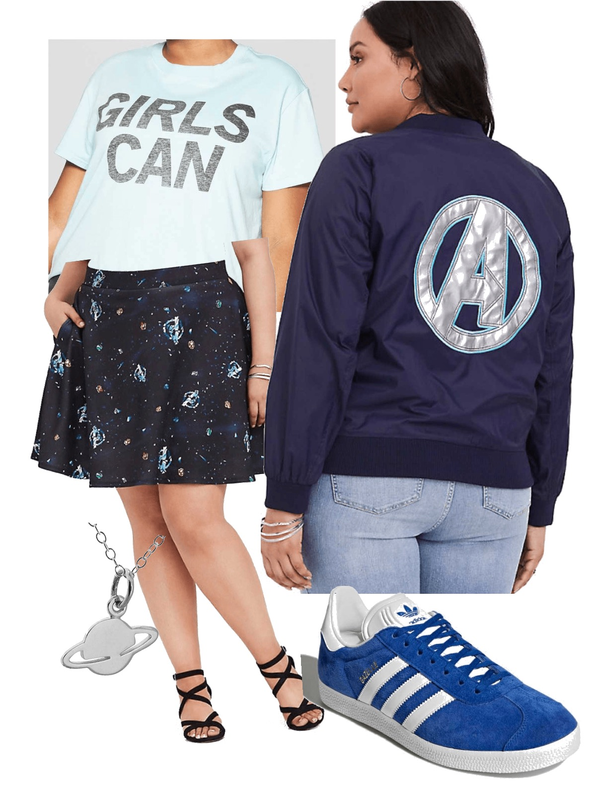 Girls Can shirt:  Target , Avengers  skirt  and  bomber jacket : Torrid, Gazelle  Adidas , Space necklace:  Amazon
