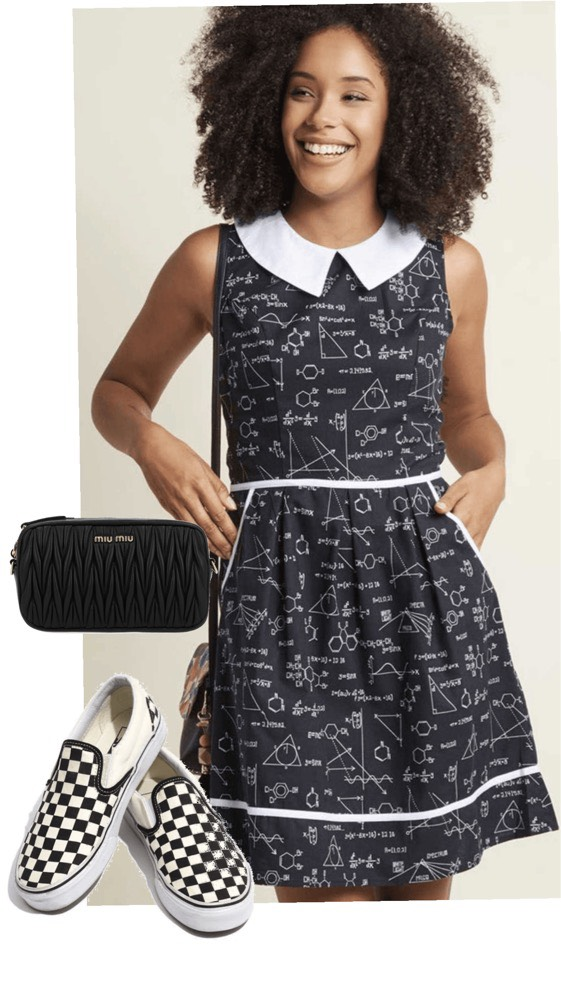 All Eyes on Unique A-Line Dress  by ModCloth,  Checkerboard Vans  Slip-on Shoes,  MATELASSÉ LEATHER BELT BAG  by miu miu