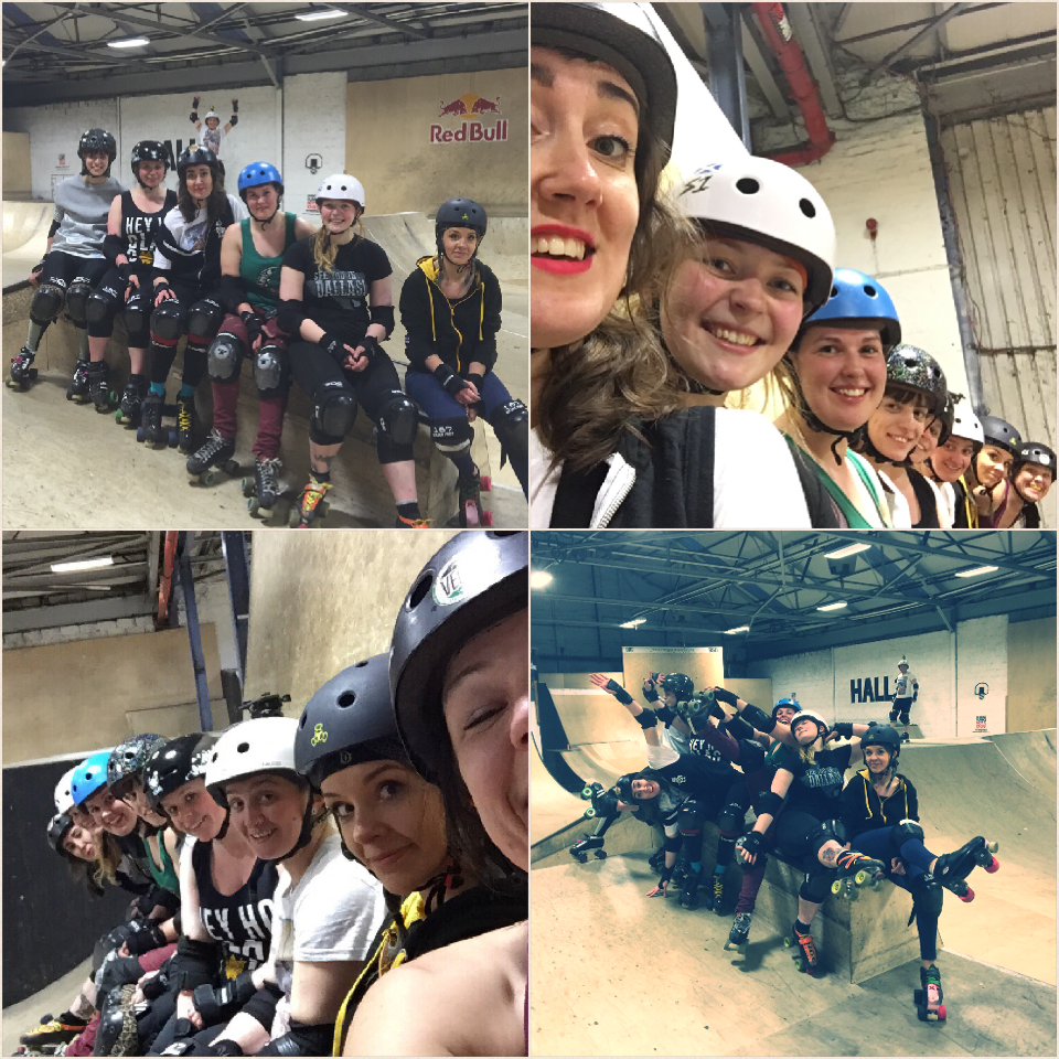 Team Skatepark, consisting of Janie Bones, Mad Natter, Puma Thurman, Shona Mercy, Mona Rampage, Jen Fleming, Marshall Lawless and Sarah McMillan.