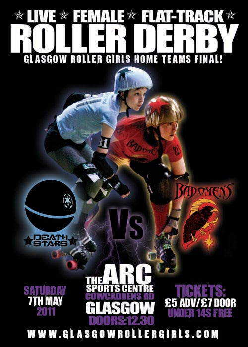 The poster for the first Home Teams Final, between the Death Stars and the Bad Omens, featuring Jess E Ska & Cara VIola.