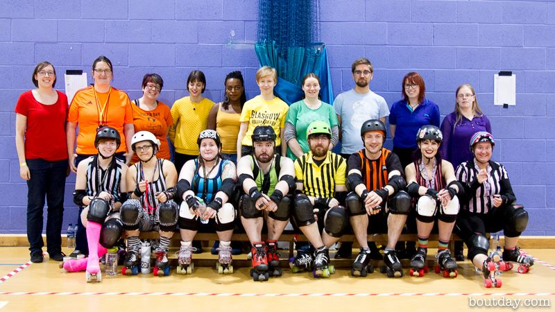 A veritable rainbow of officials, both on- and off-skates. Photo courtesy of Dave McAleavy, boutday.com.