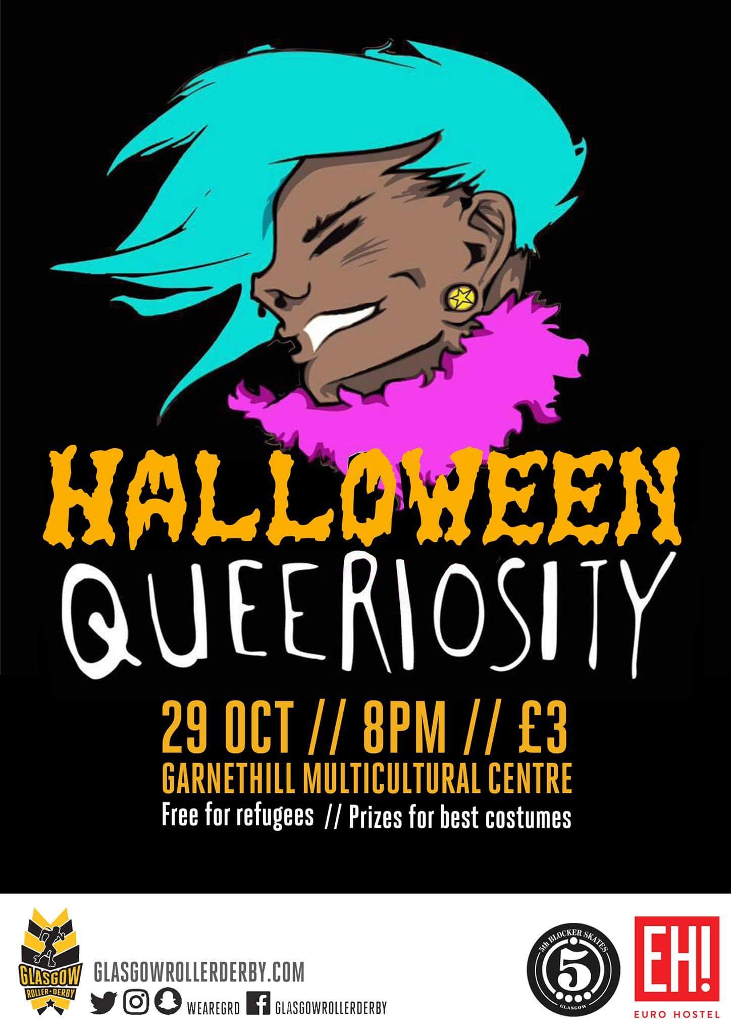 Poster for Halloween Queeriosity 2016; artwork courtesy of  Nuclaire Art .