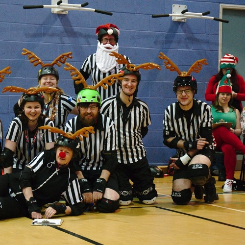 Santa, the Ref-Deers and some elf helpers! Photo courtesy of Sam Skipsey.