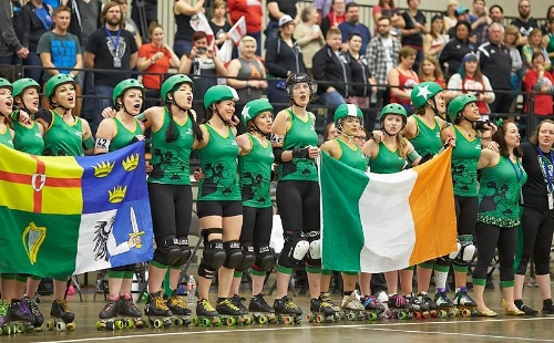 Team Ireland, ready for the Roller Derby World Cup 2014. Photo by:  http://www.roller-derby-on-film.co.uk/