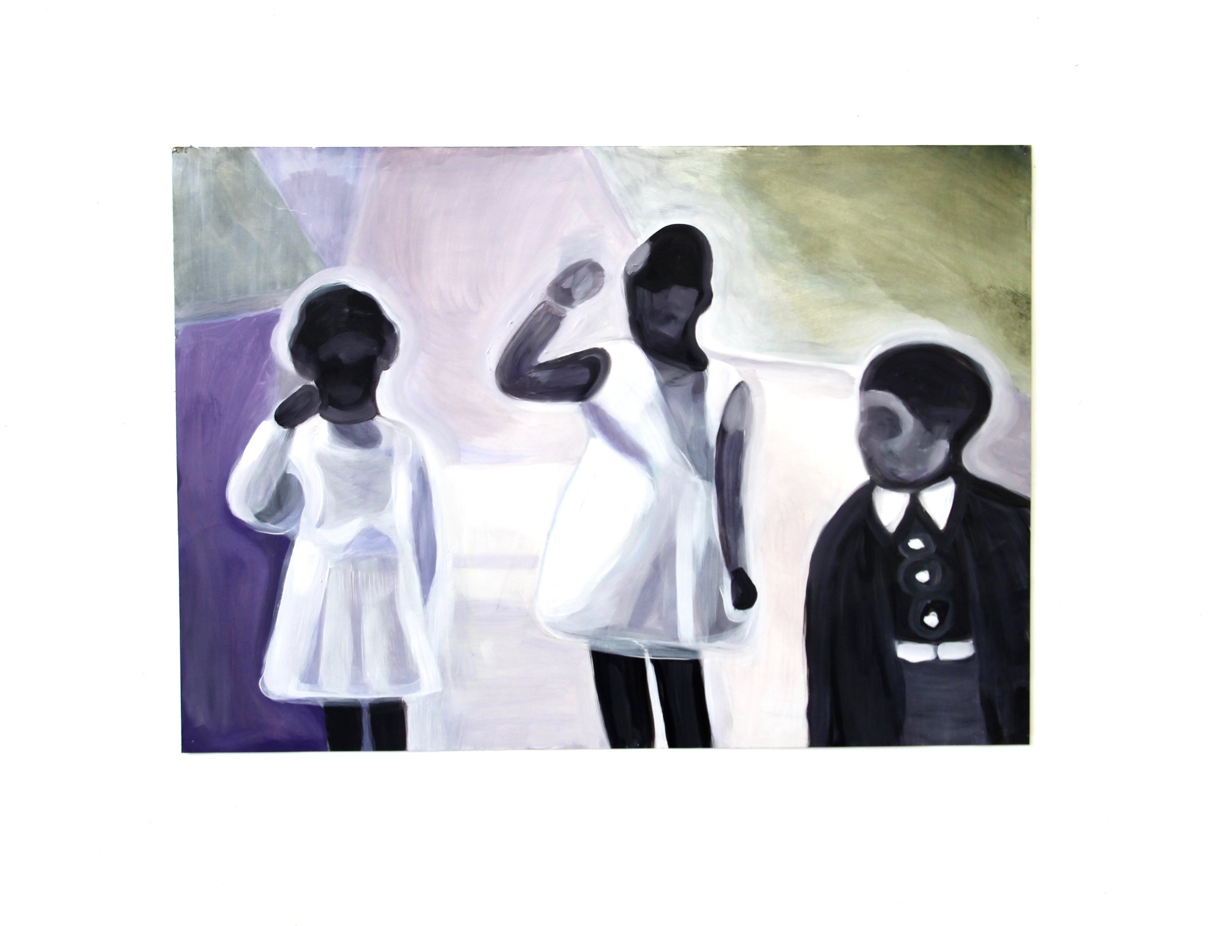 Three Children , 2018 Oil on paper 24 x 30 inches 61 x 76 cm (approximately)