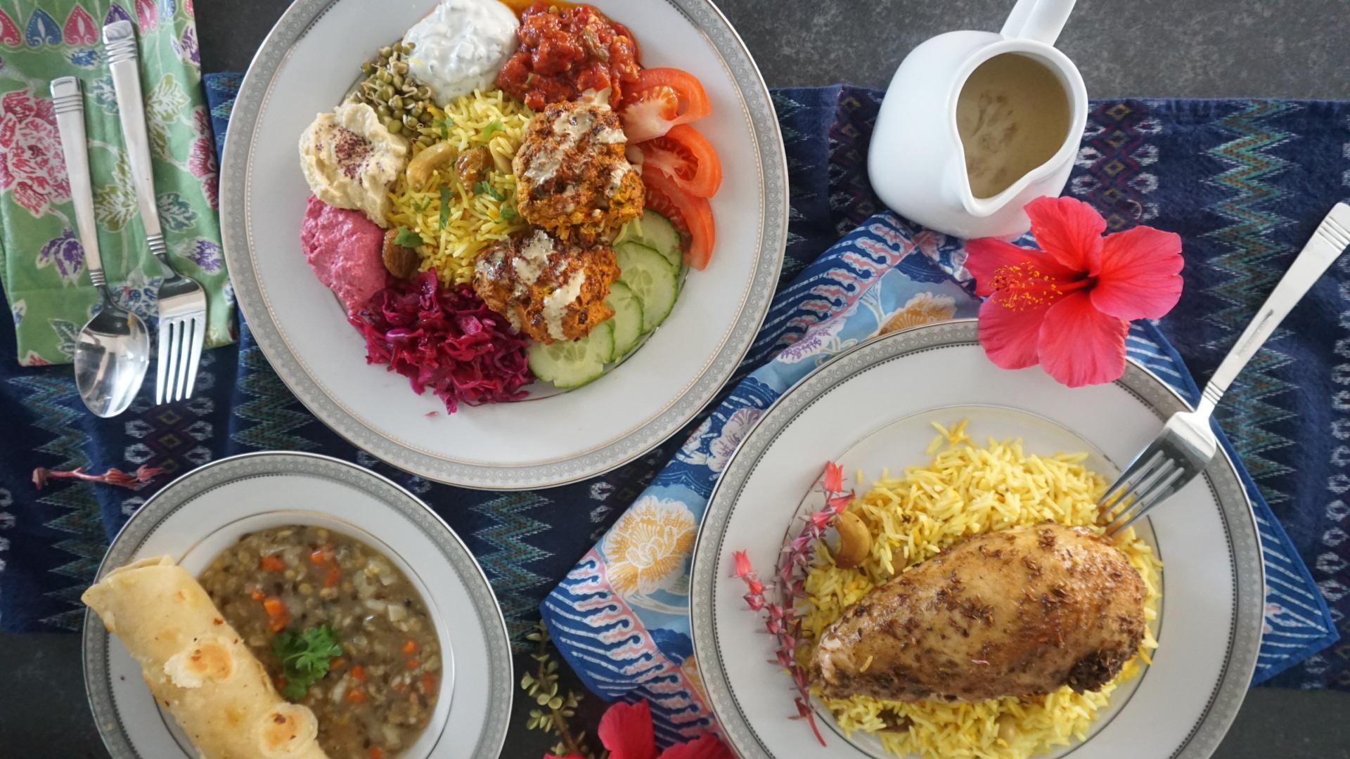 Medicinal Super Bowl, Pumpkin Veggie Bhaji, Cumin Spiced Organic Chicken, Medicinal Rice, Lentil Soup, Homemade Garlic Roti