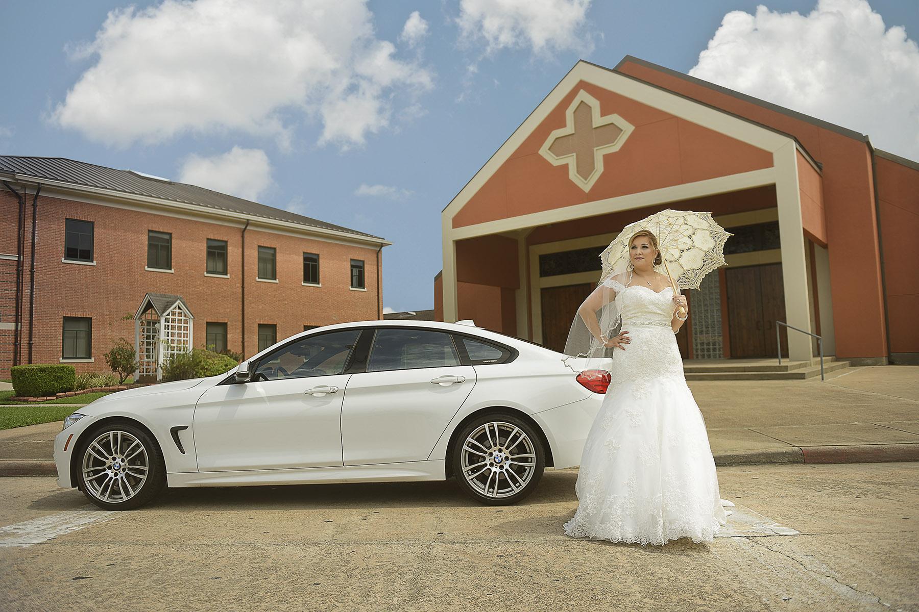 High fashion bridal photo of Lilianna moments before her wedding at St. Theresa Catholic Church in Sugar Land.