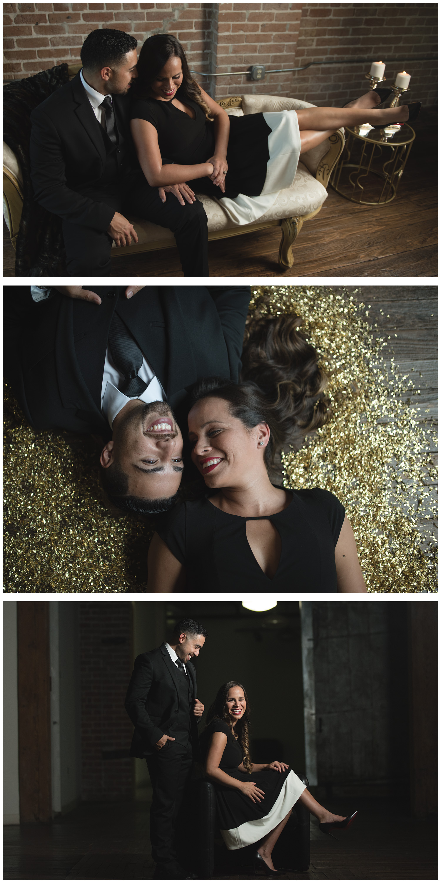 fun black tie engagement session houston
