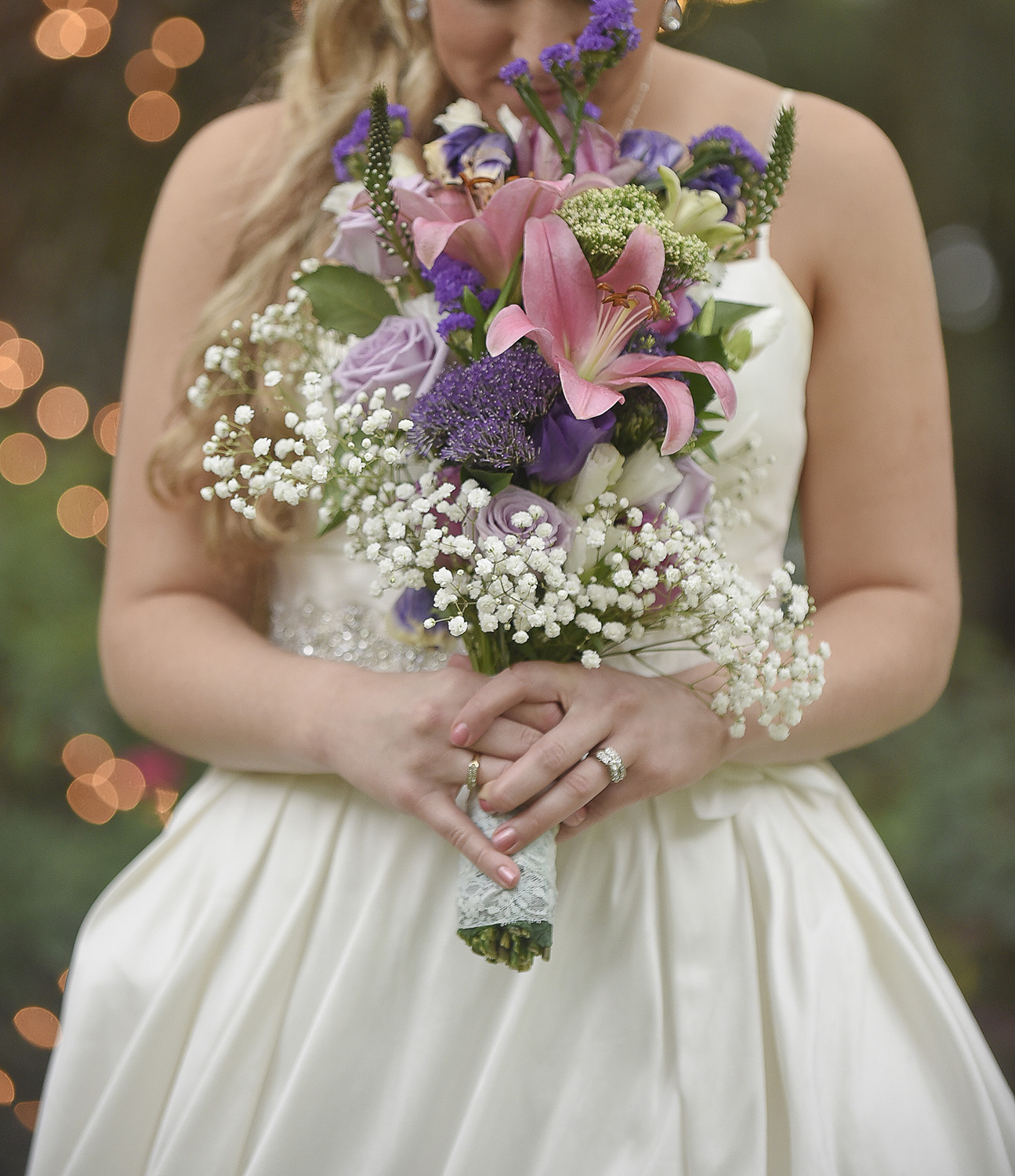These beautiful lights at  Oak Tree Manor  in Spring, TX make for a perfect bridal photo.