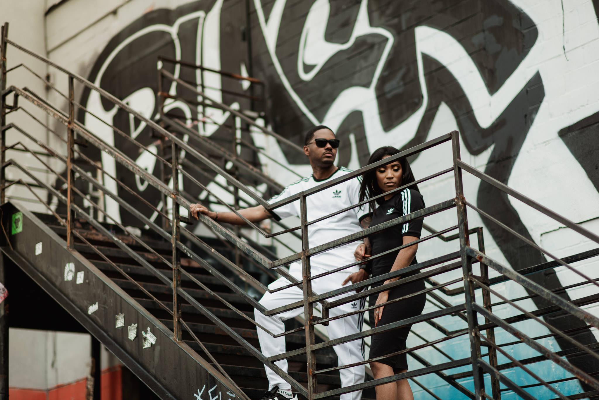 houston-style-classy-sporty-adidas-black-couple-engagement-graffiti-wall-photographer