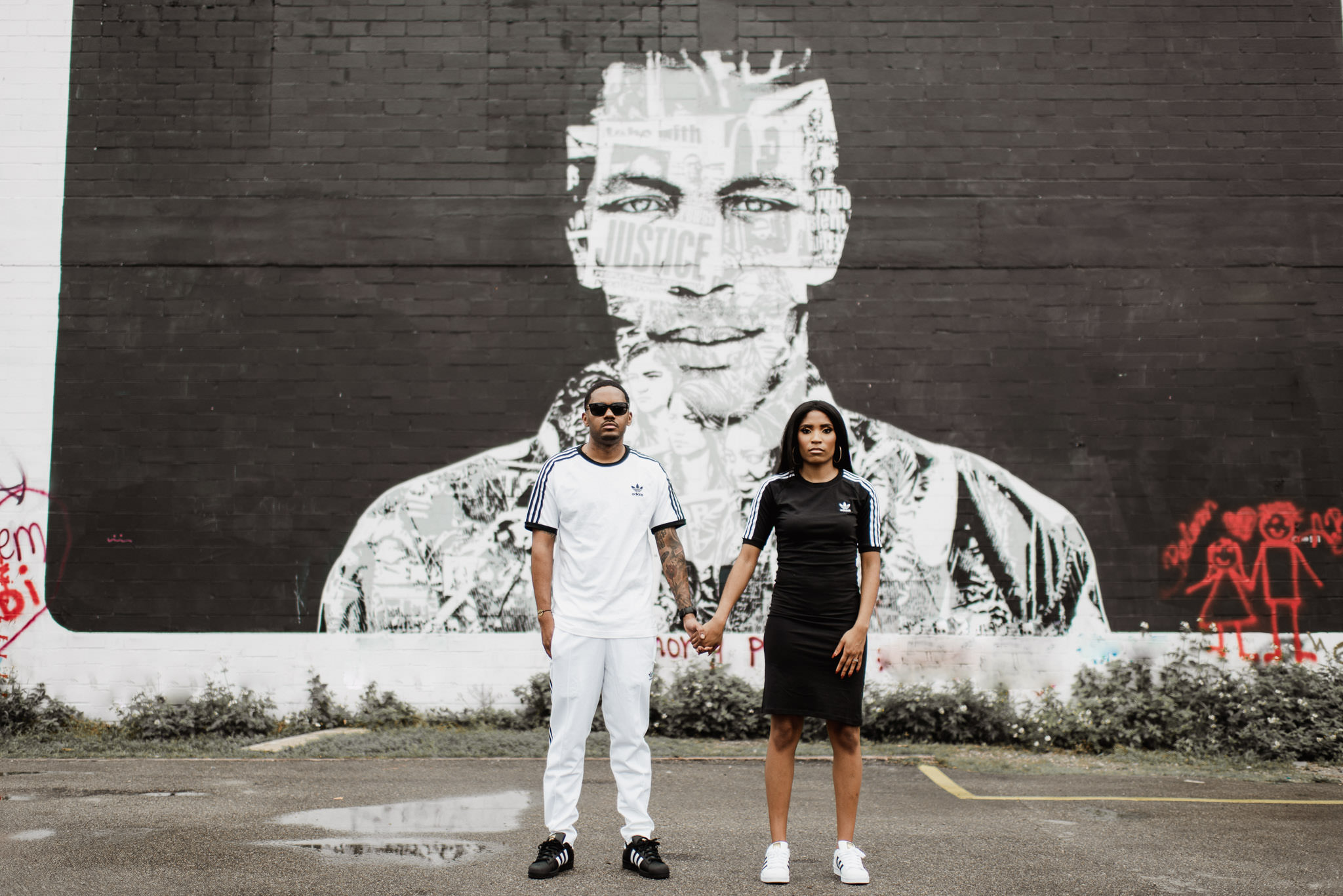 houston-style-classy-sporty-adidas-black-couple-engagement-graffiti-wall-photographer