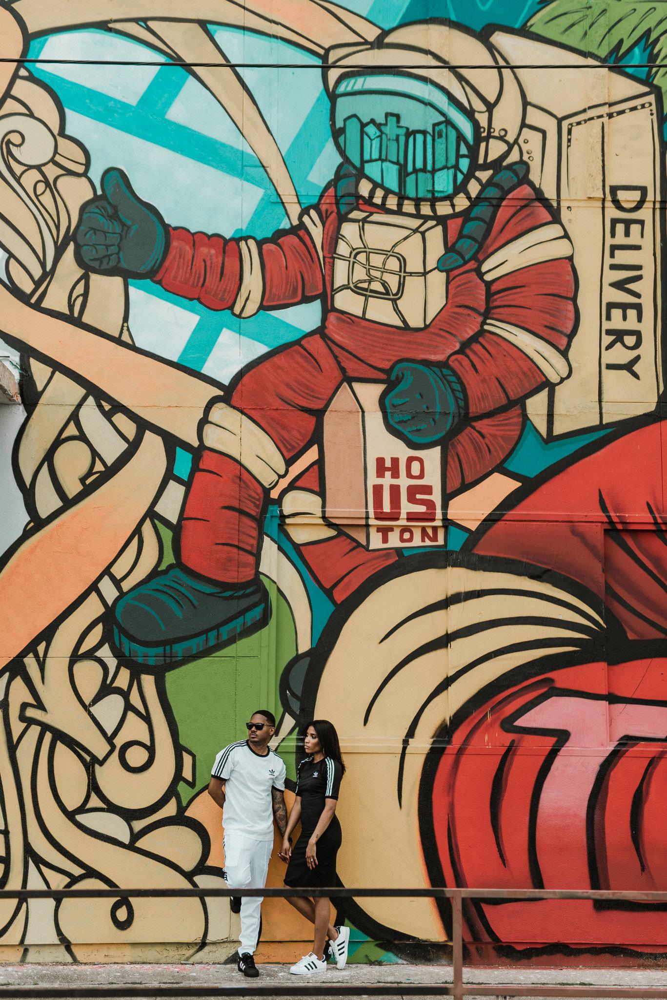 houston-graffiti-wall-astronaut-space-colorful-art-urban-black-couple-engagement-photography