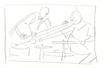 Option 6: Professor measuring drummers wingspan