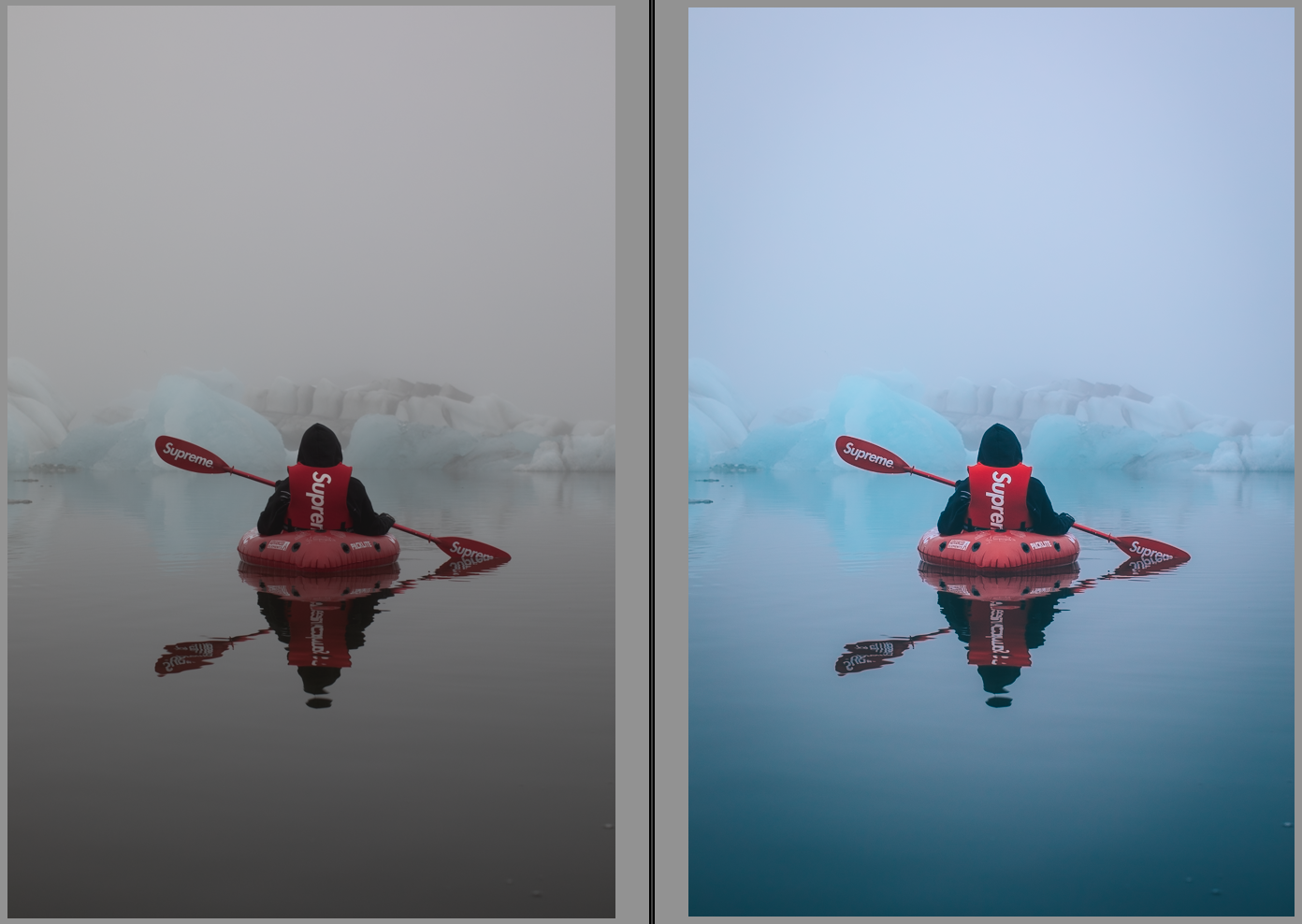 Kayaking in Iceland edited using the 'Icy Blue' preset.