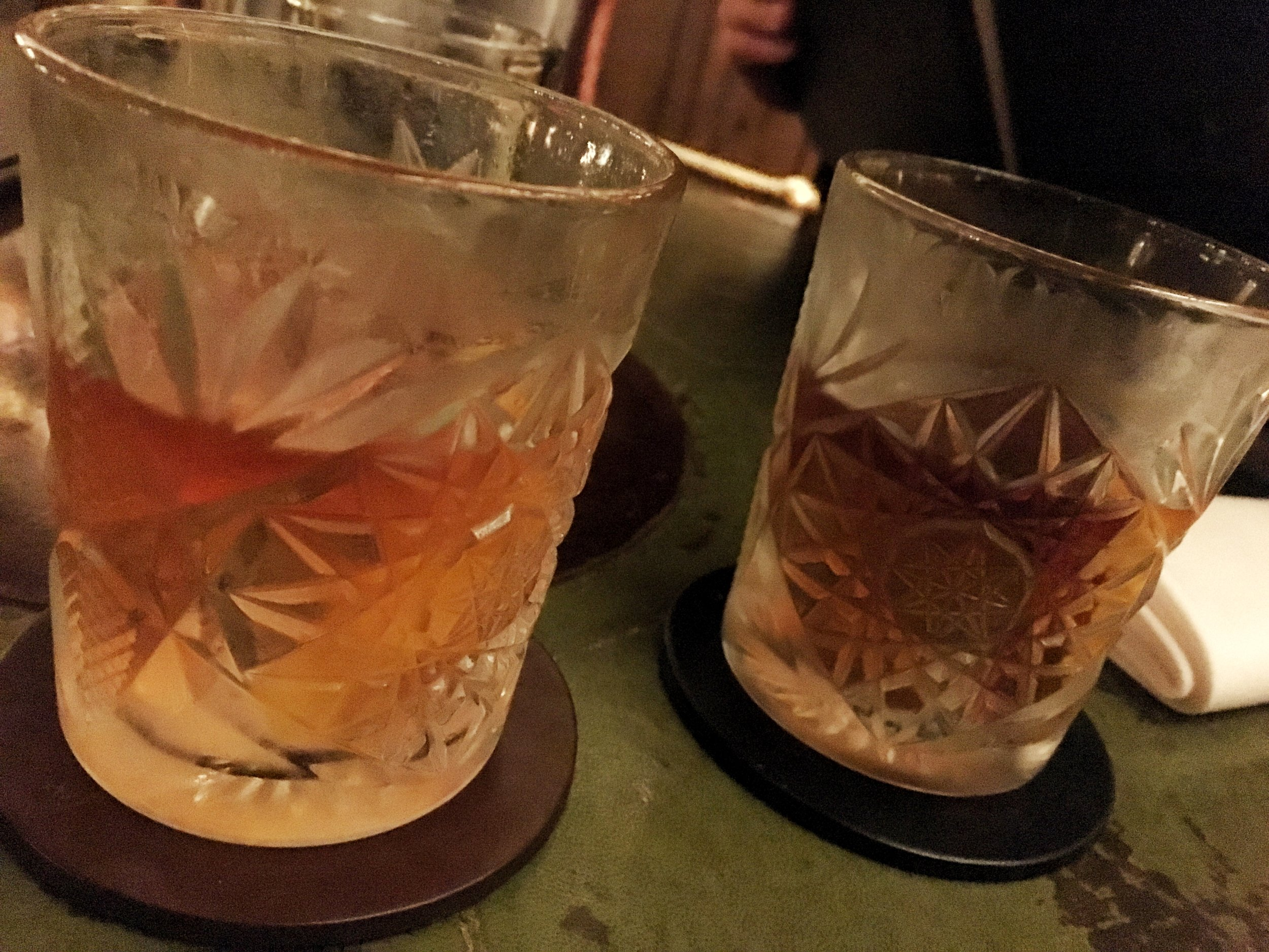 Left to Right: Improved Whiskey Cocktail, Old Fashioned