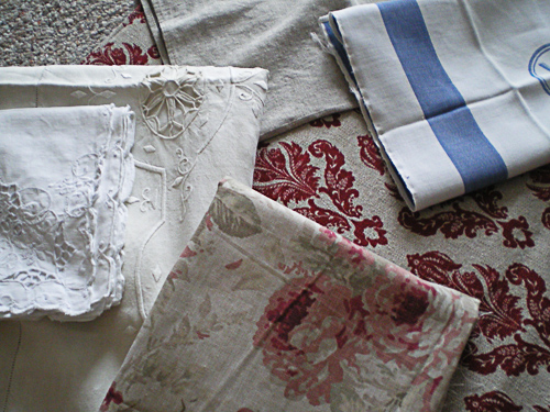Old Linens and Various Fabric Scraps.....Just a couple of the MANY i have....