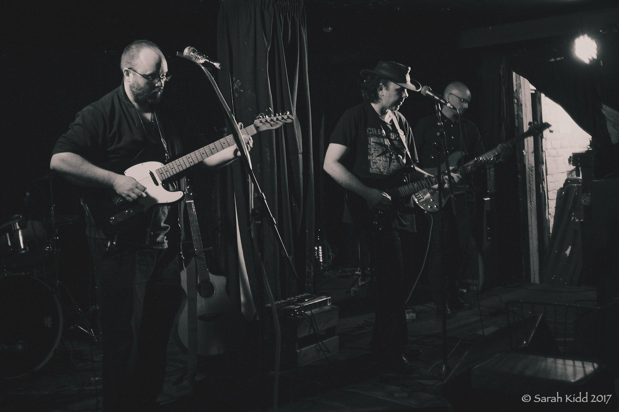 Disjecta Membra,  Whammy Bar , Auckland, 5 February 2017 (L-R): Kane Davey, Michel Rowland, Jaz Murphy. Photo: Sarah Kidd,  Ambient Light